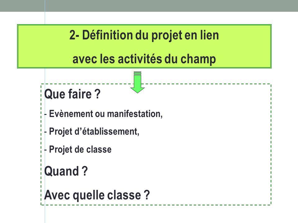 2- Définition du projet en lien avec les activités du champ