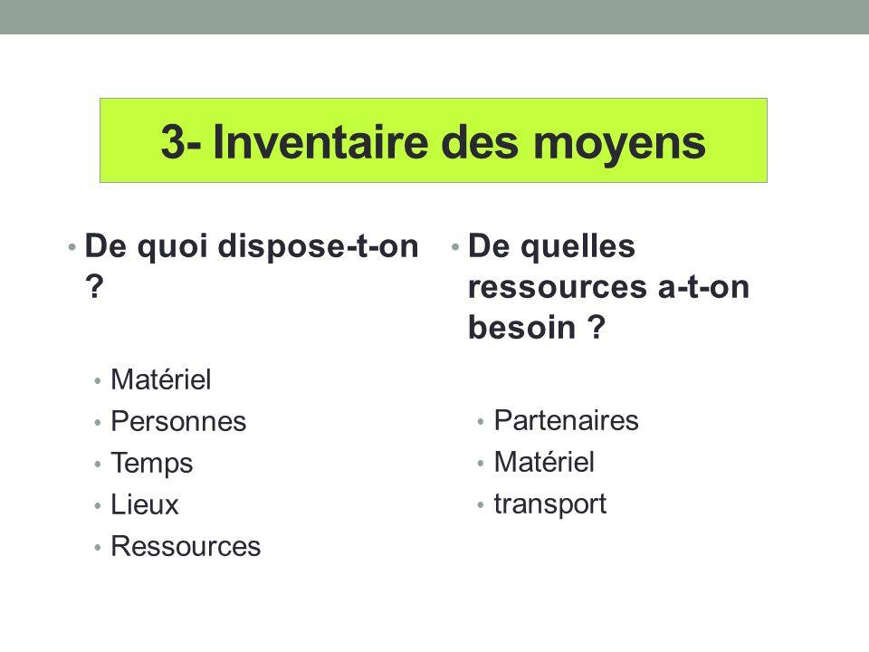 3- Inventaire des moyens