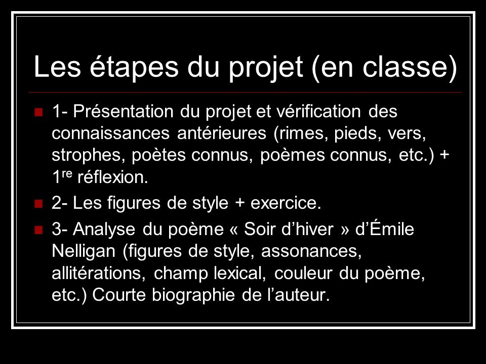 Les étapes du projet (en classe)