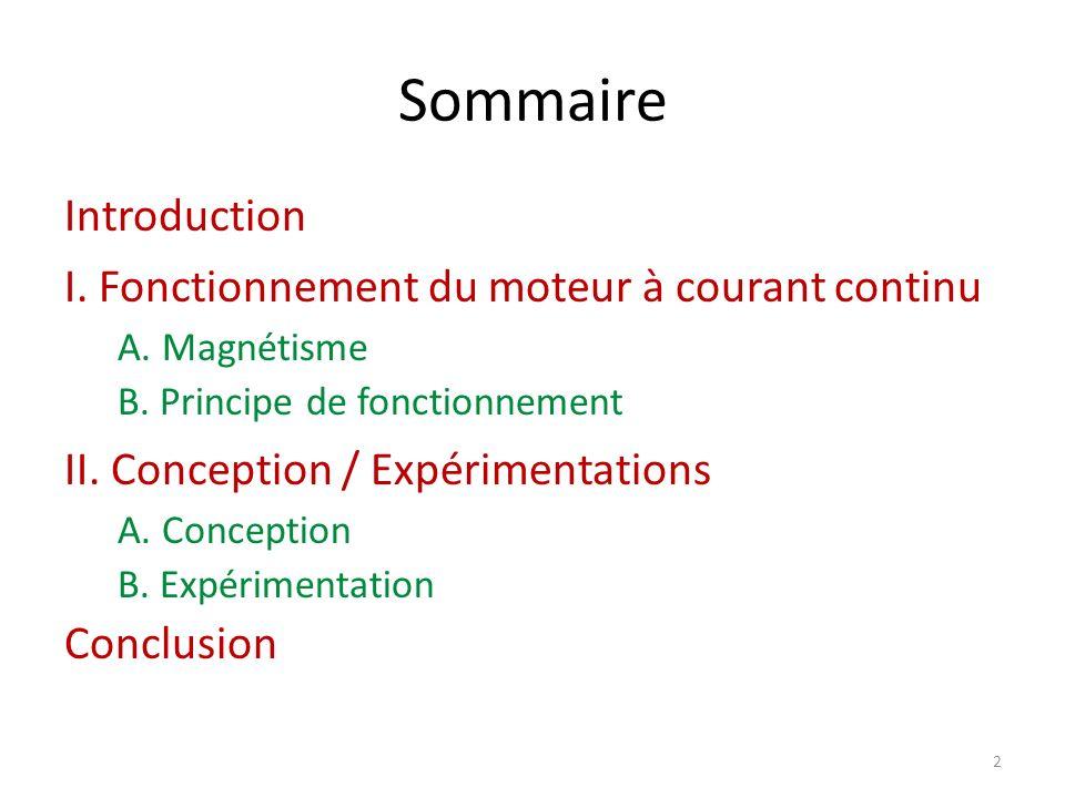 Sommaire Introduction I. Fonctionnement du moteur à courant continu