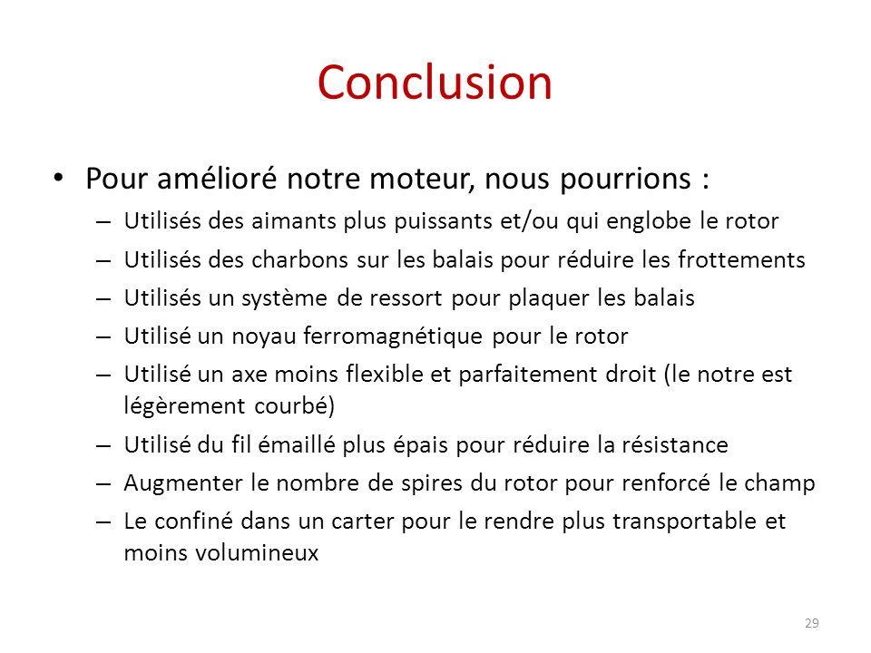Conclusion Pour amélioré notre moteur, nous pourrions :