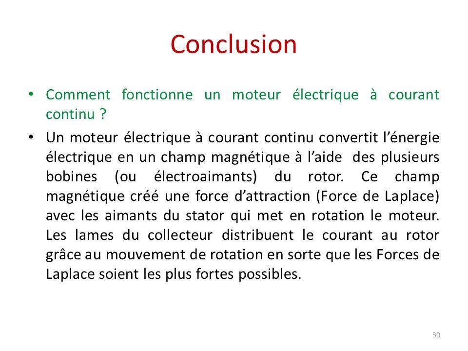 Conclusion Comment fonctionne un moteur électrique à courant continu