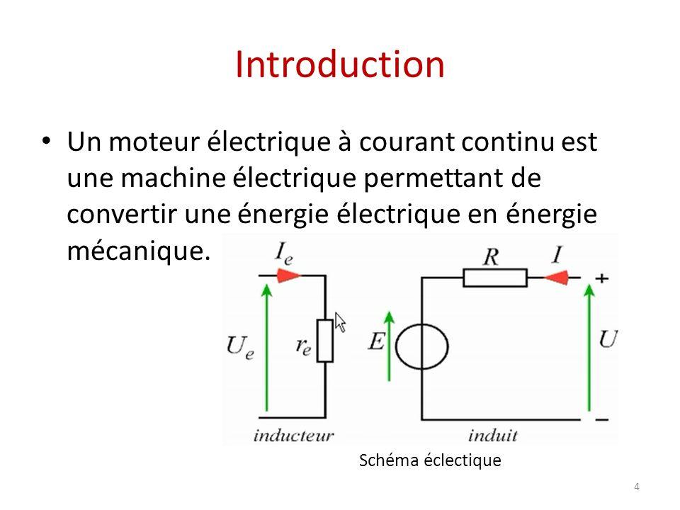 Introduction Un moteur électrique à courant continu est une machine électrique permettant de convertir une énergie électrique en énergie mécanique.