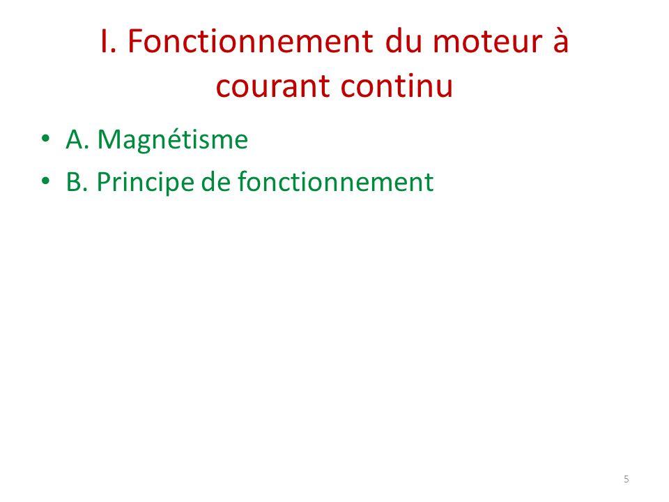 I. Fonctionnement du moteur à courant continu