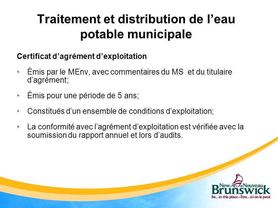Traitement et distribution de l'eau potable municipale