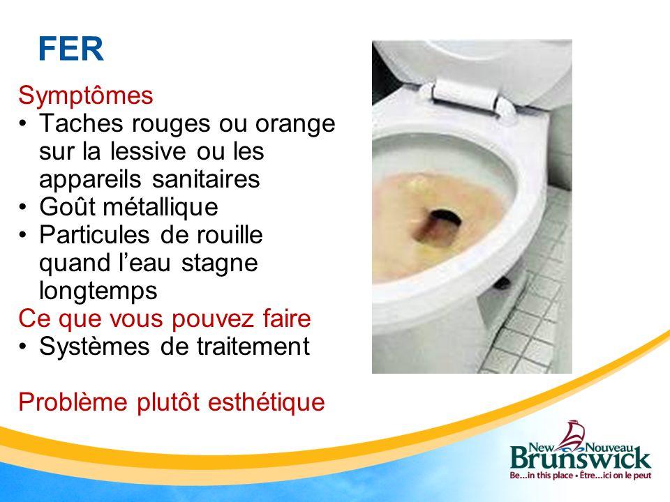 FER Symptômes. Taches rouges ou orange sur la lessive ou les appareils sanitaires. Goût métallique.