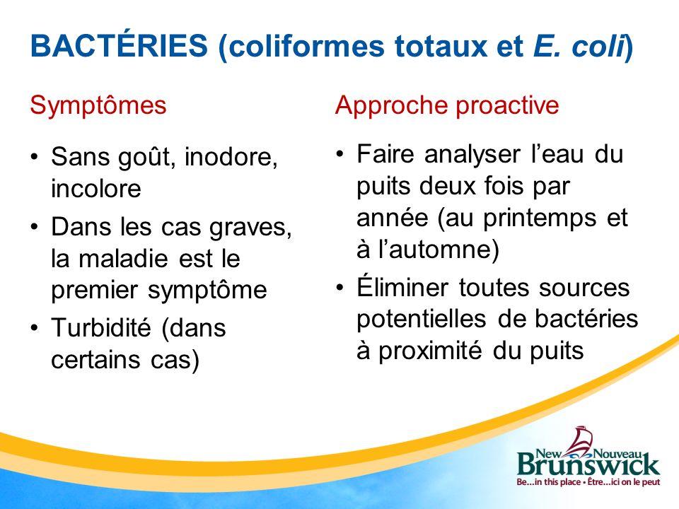 BACTÉRIES (coliformes totaux et E. coli)