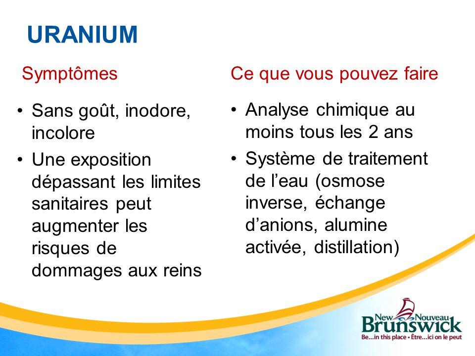 URANIUM Symptômes Sans goût, inodore, incolore