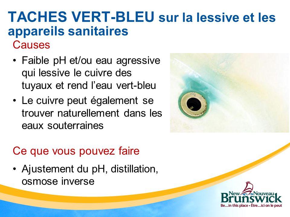 TACHES VERT-BLEU sur la lessive et les appareils sanitaires