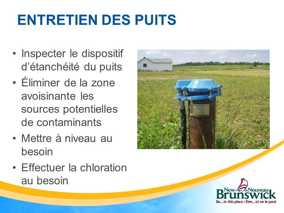 ENTRETIEN DES PUITS Inspecter le dispositif d'étanchéité du puits