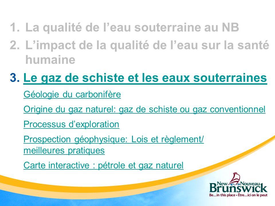 La qualité de l'eau souterraine au NB