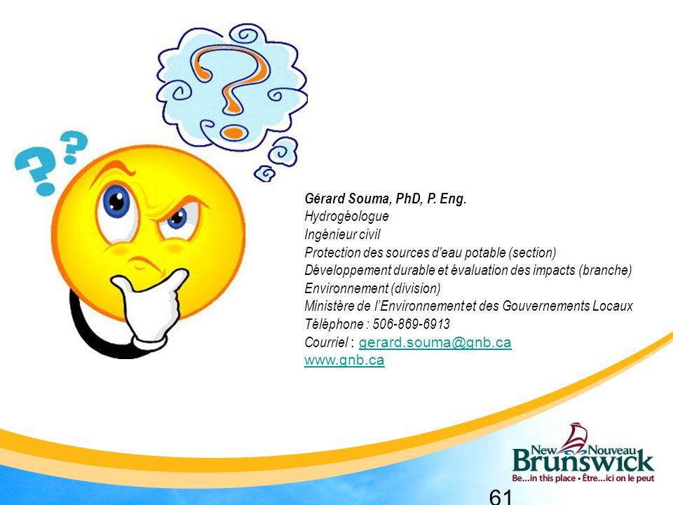 Gérard Souma, PhD, P. Eng. Hydrogéologue. Ingénieur civil. Protection des sources d eau potable (section)