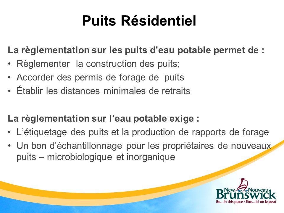 Puits Résidentiel La règlementation sur les puits d'eau potable permet de : Règlementer la construction des puits;
