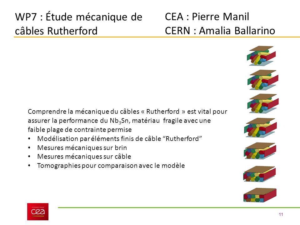 WP7 : Étude mécanique de câbles Rutherford CEA : Pierre Manil