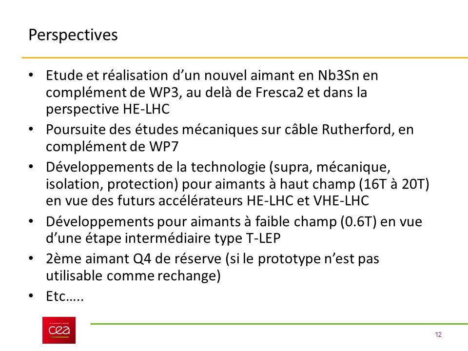 Perspectives Etude et réalisation d'un nouvel aimant en Nb3Sn en complément de WP3, au delà de Fresca2 et dans la perspective HE-LHC.