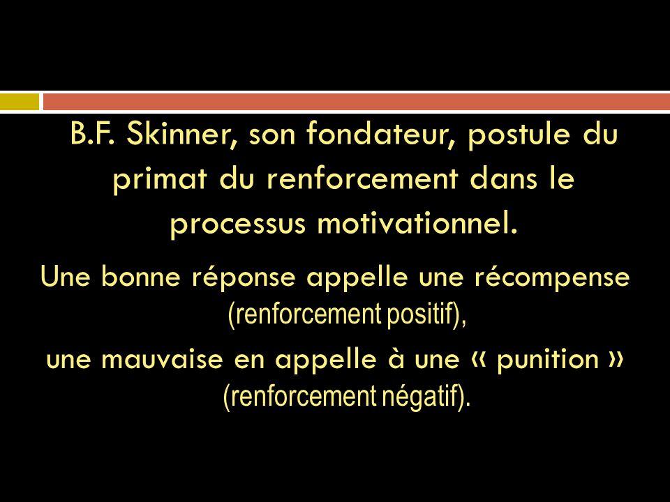 B.F. Skinner, son fondateur, postule du primat du renforcement dans le processus motivationnel.