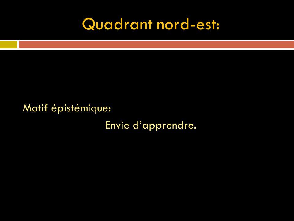 Quadrant nord-est: Motif épistémique: Envie d'apprendre.