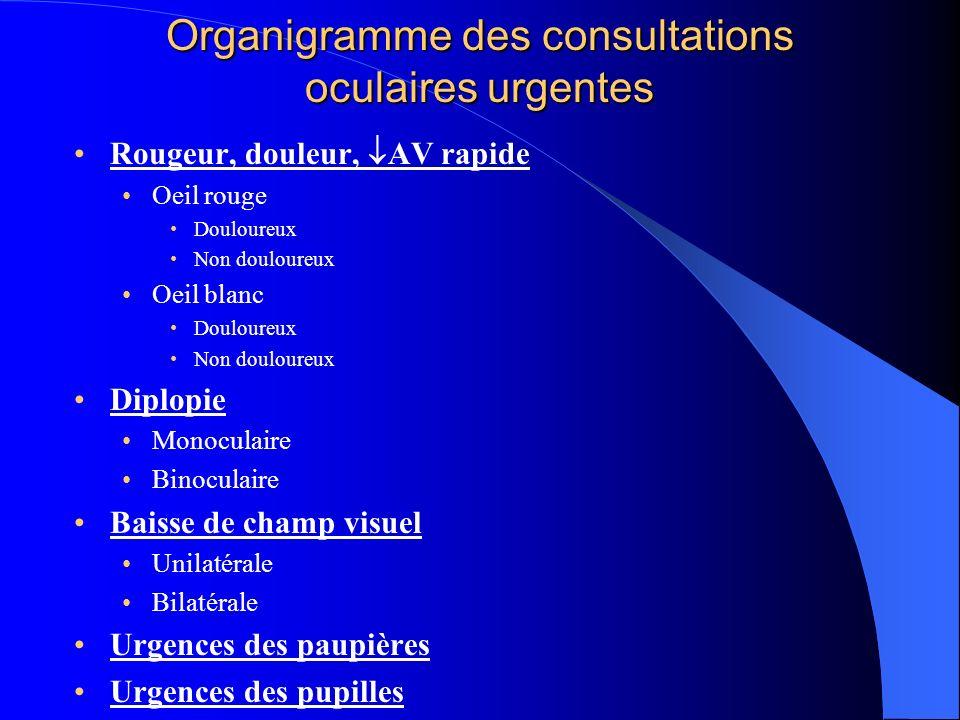 Organigramme des consultations oculaires urgentes