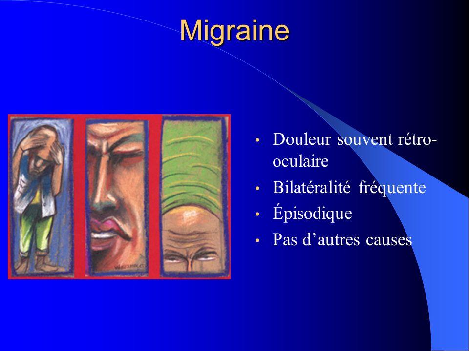 Migraine Douleur souvent rétro-oculaire Bilatéralité fréquente