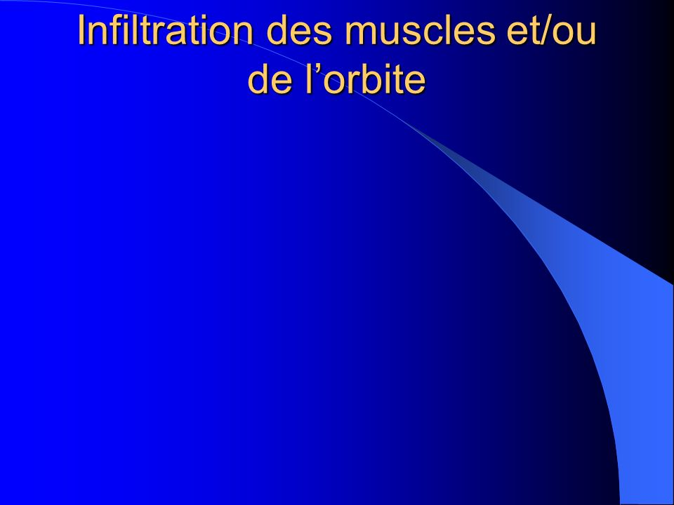 Infiltration des muscles et/ou de l'orbite
