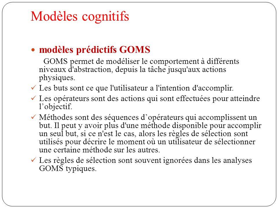 Modèles cognitifs modèles prédictifs GOMS