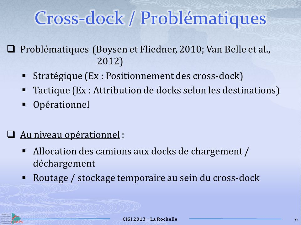 Cross-dock / Problématiques