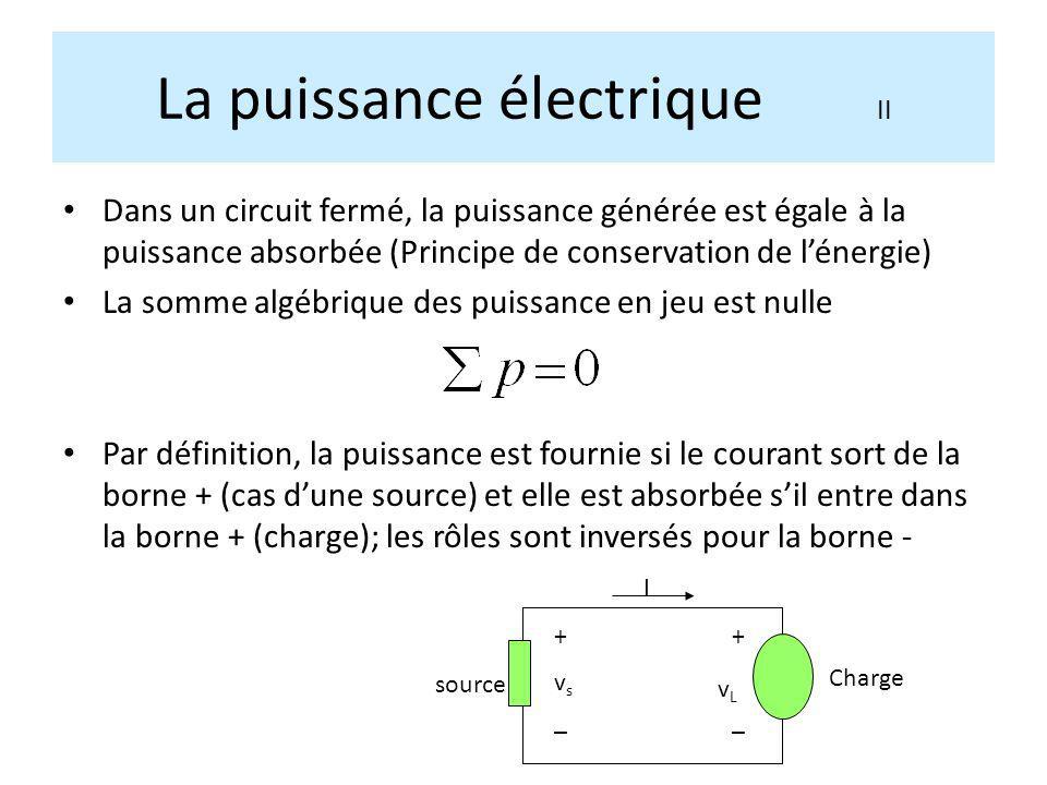 La puissance électrique II