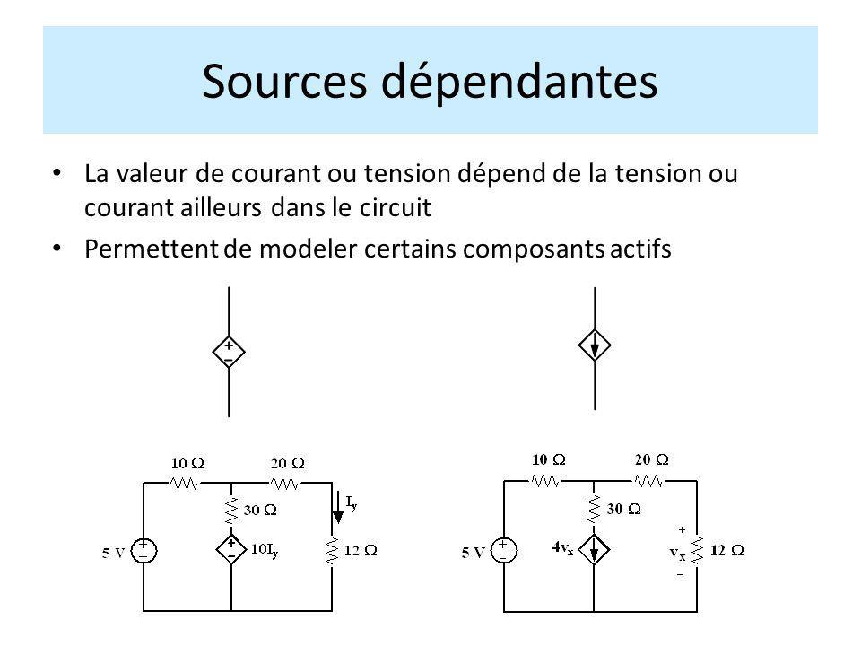 Sources dépendantes La valeur de courant ou tension dépend de la tension ou courant ailleurs dans le circuit.