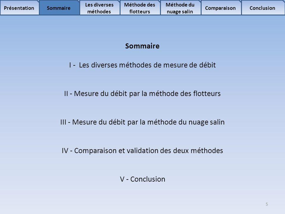 I - Les diverses méthodes de mesure de débit