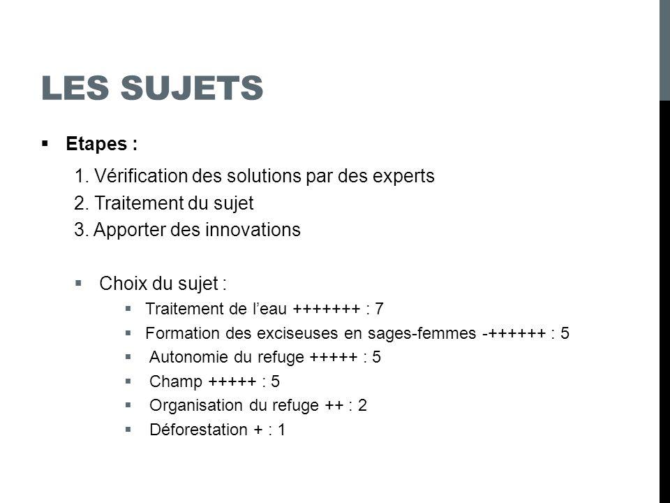Les sujets Etapes : 1. Vérification des solutions par des experts