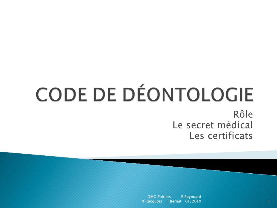 Rôle Le secret médical Les certificats