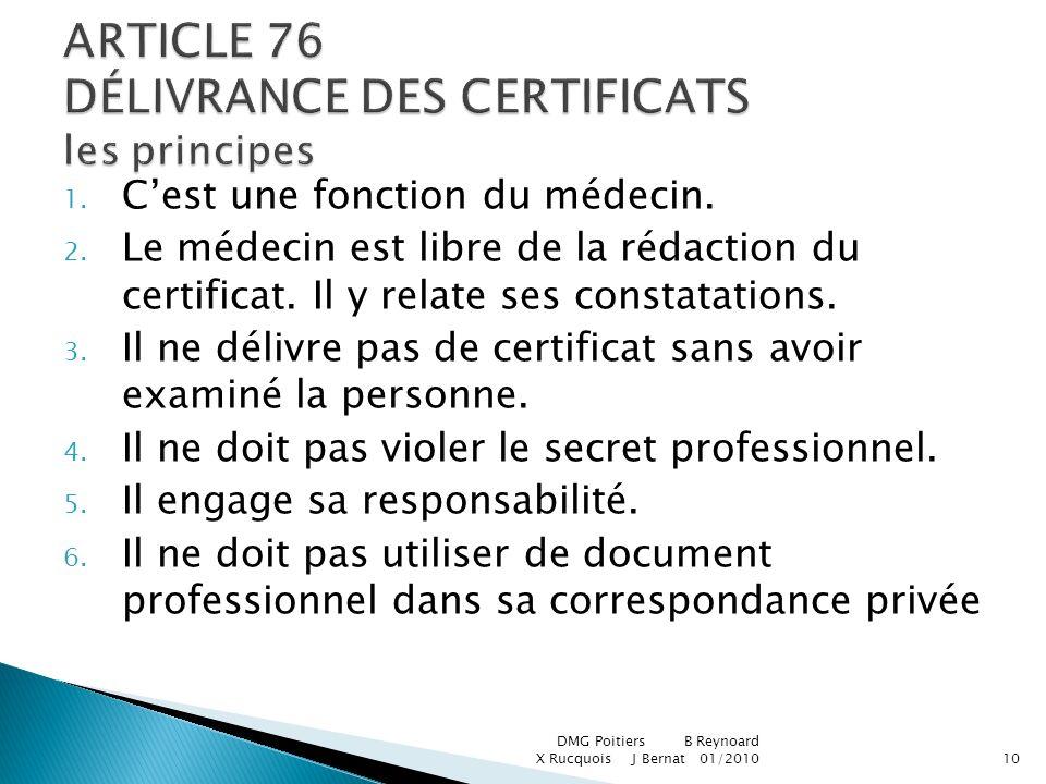 ARTICLE 76 DÉLIVRANCE DES CERTIFICATS les principes