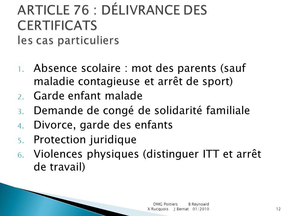 ARTICLE 76 : DÉLIVRANCE DES CERTIFICATS les cas particuliers