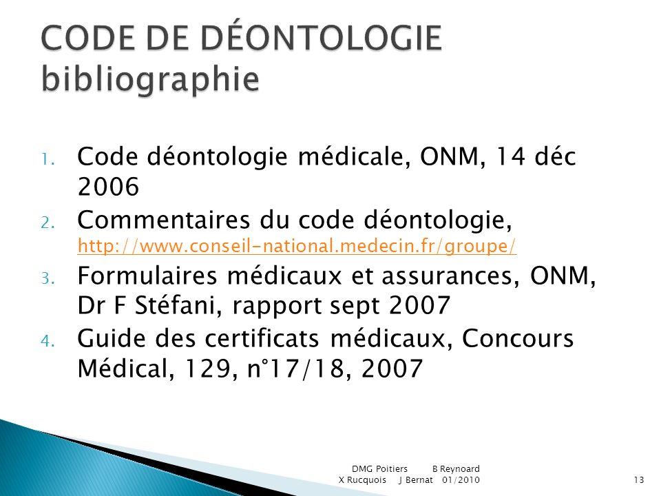 CODE DE DÉONTOLOGIE bibliographie