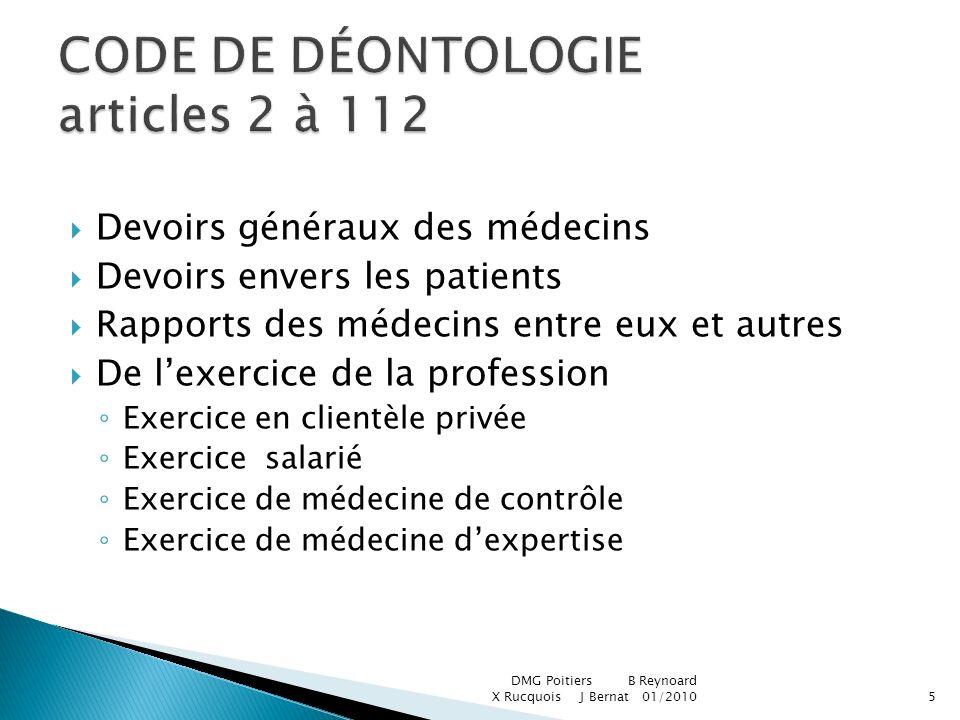 CODE DE DÉONTOLOGIE articles 2 à 112