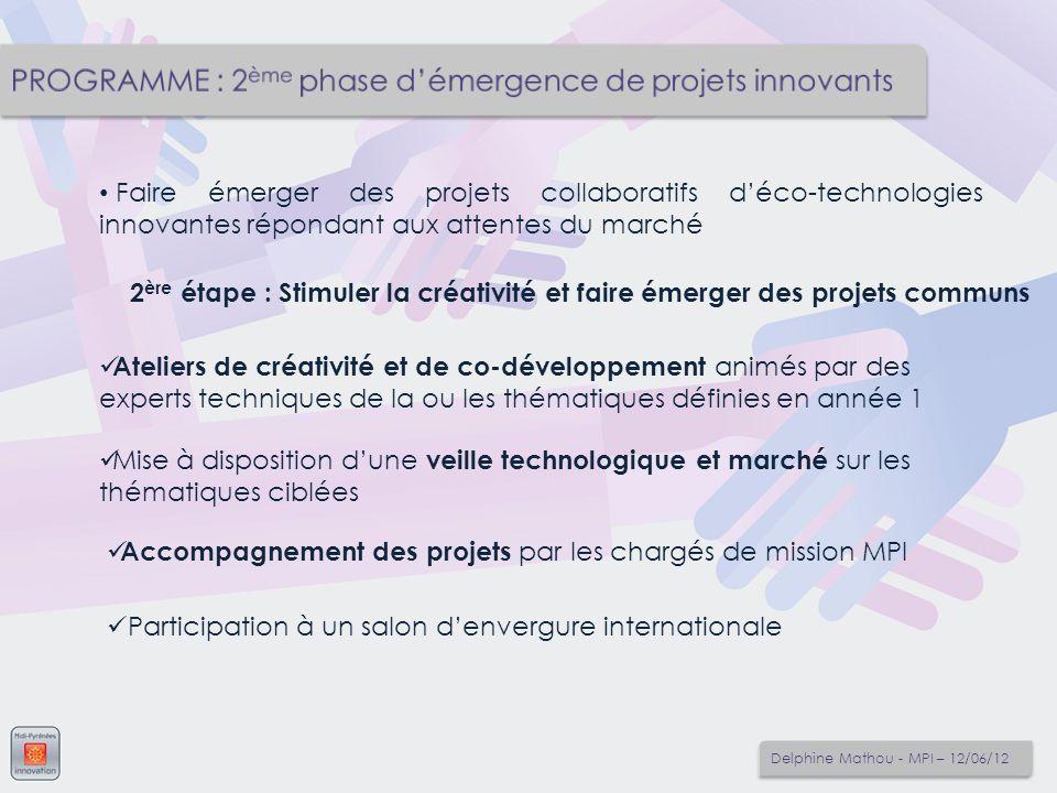 PROGRAMME : 2ème phase d'émergence de projets innovants