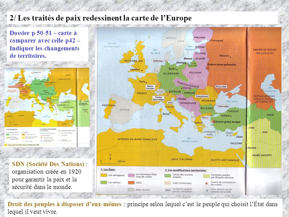 2/ Les traités de paix redessinent la carte de l'Europe
