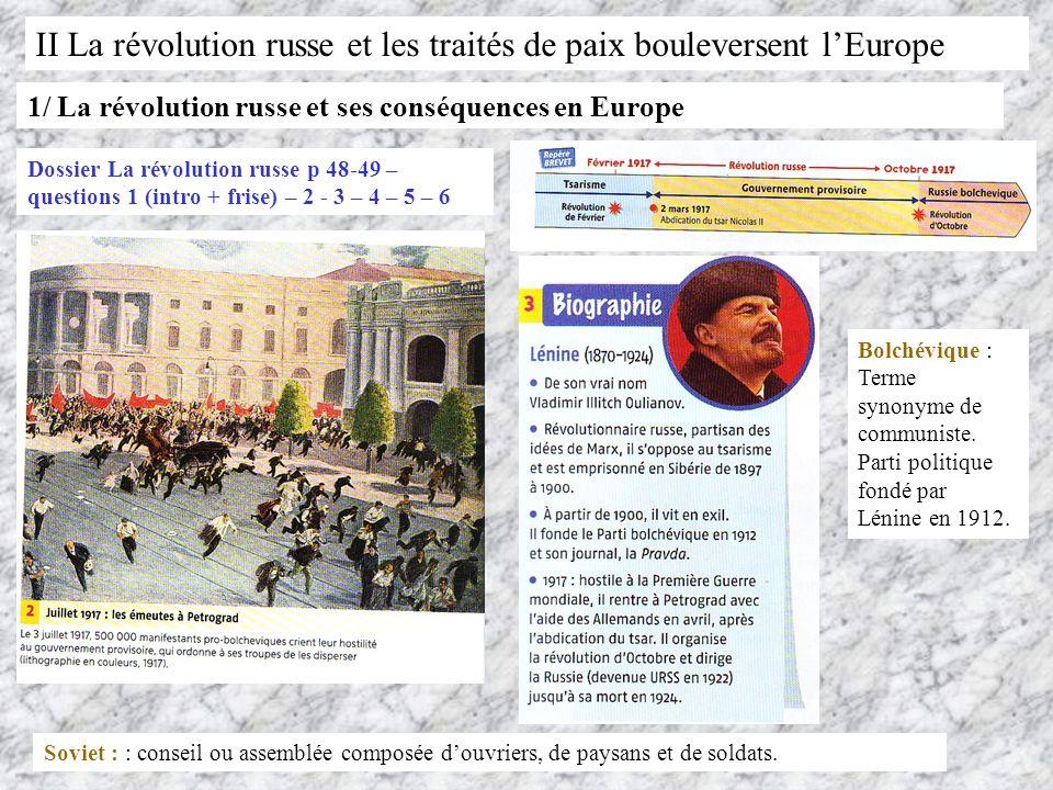 II La révolution russe et les traités de paix bouleversent l'Europe