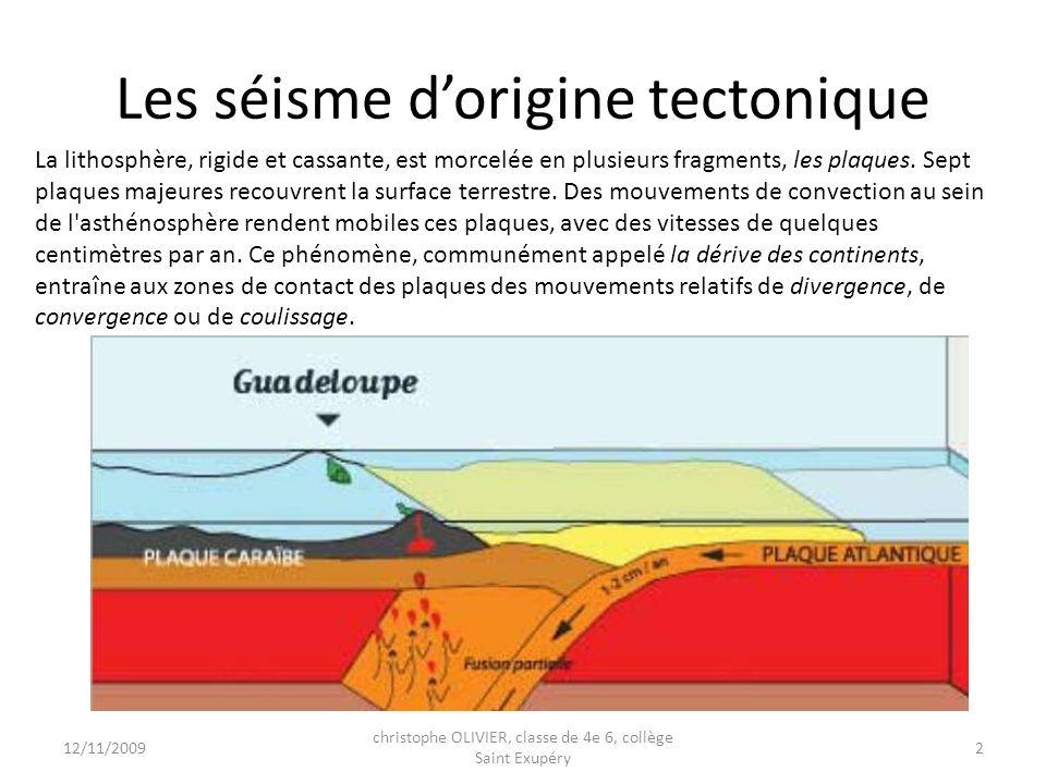 Les séisme d'origine tectonique