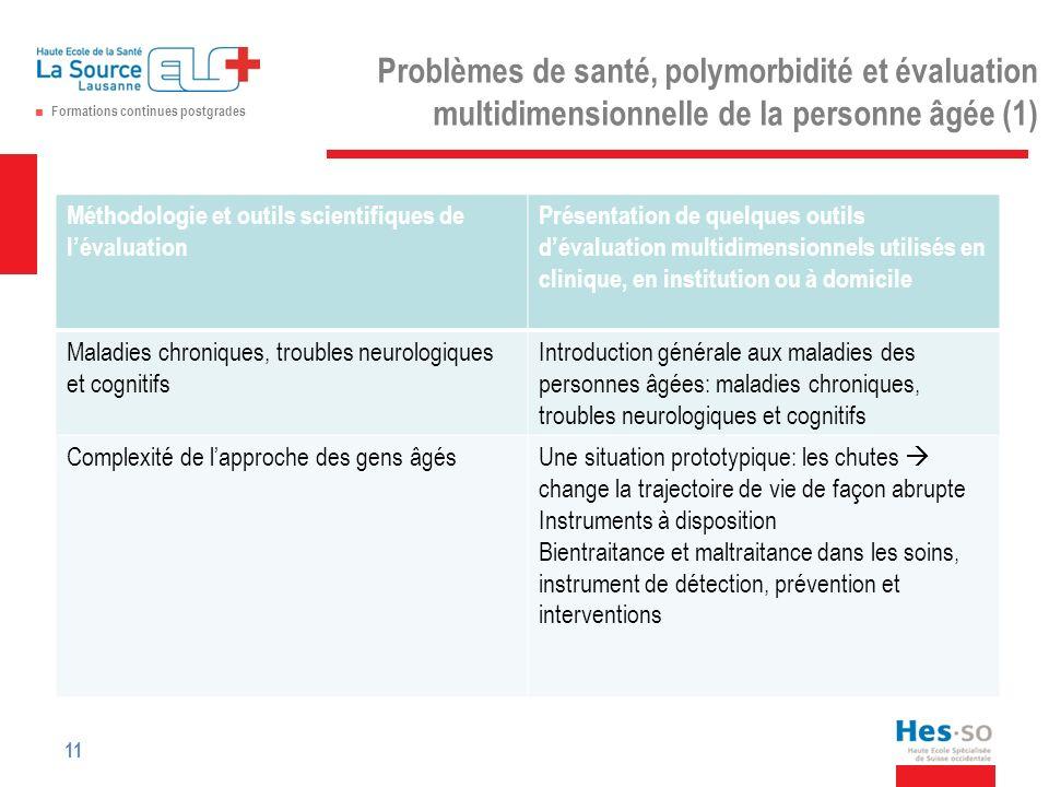 Problèmes de santé, polymorbidité et évaluation multidimensionnelle de la personne âgée (1)