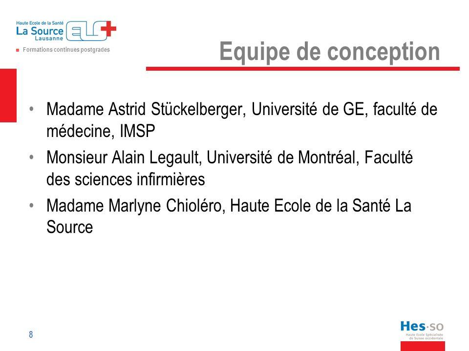 Equipe de conception Madame Astrid Stückelberger, Université de GE, faculté de médecine, IMSP.