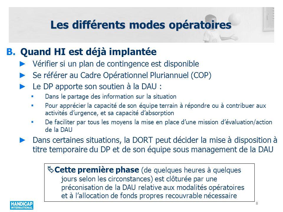 Les différents modes opératoires