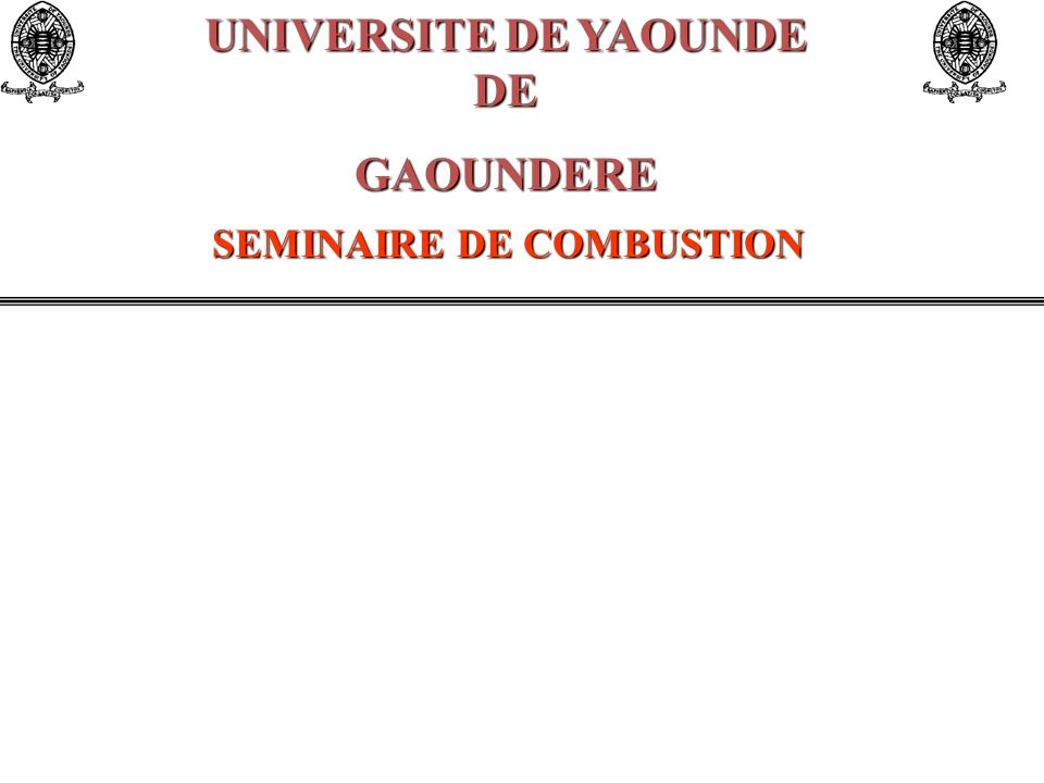 UNIVERSITE DE YAOUNDE DE SEMINAIRE DE COMBUSTION