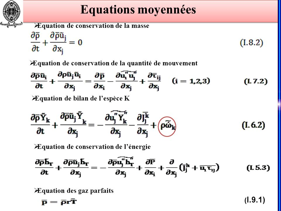 Equations moyennées Equation de conservation de la masse