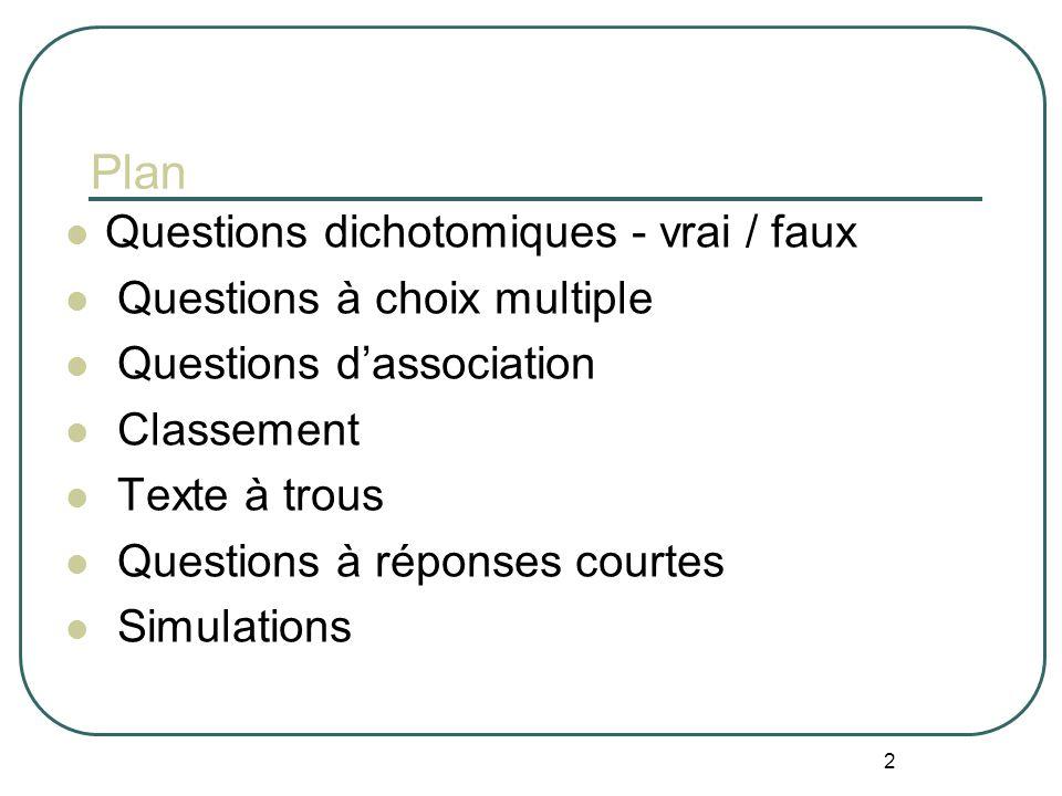 Plan Questions dichotomiques - vrai / faux Questions à choix multiple