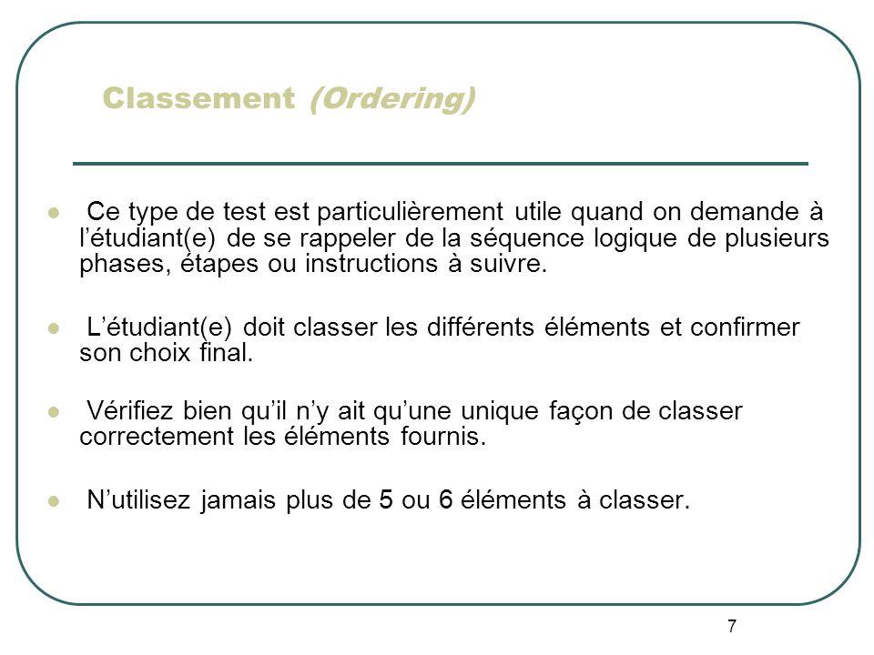 Classement (Ordering)