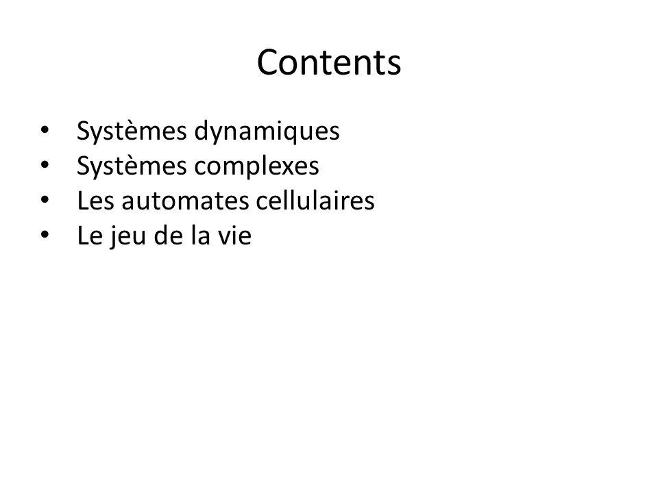Contents Systèmes dynamiques Systèmes complexes