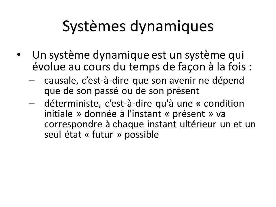 Systèmes dynamiques Un système dynamique est un système qui évolue au cours du temps de façon à la fois :