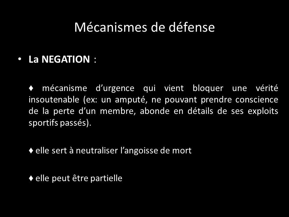 Mécanismes de défense La NEGATION :