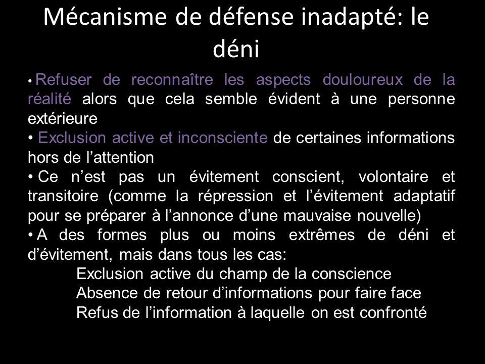 Mécanisme de défense inadapté: le déni
